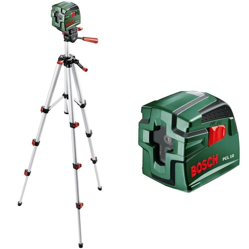 Bosch DIY Kreuzlinien-Laser PCL 10 Set, Batterien, Stativ 1,1 m, Schutztasche (Arbeitsbereich 10 m, +/- 0,5 mm/m Messgenauigkeit)